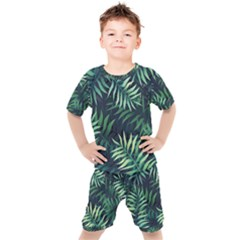 Night Tropical Leaves Kids  Tee And Shorts Set by goljakoff