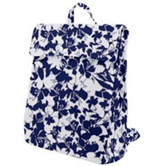 Navy & White Floral Design Flap Top Backpack by WensdaiAddamns