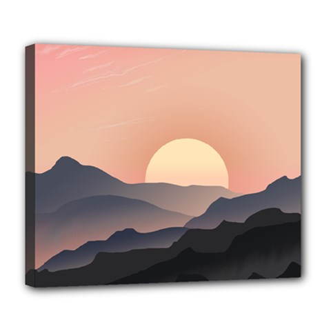 Sunset Sky Sun Graphics Deluxe Canvas 24  X 20  (stretched)