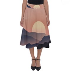 Sunset Sky Sun Graphics Perfect Length Midi Skirt