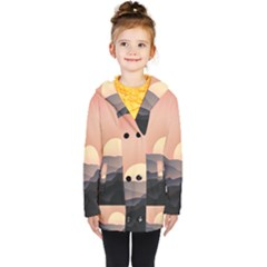 Sunset Sky Sun Graphics Kids  Double Breasted Button Coat