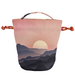 Sunset Sky Sun Graphics Drawstring Bucket Bag