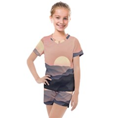 Sunset Sky Sun Graphics Kids  Mesh Tee And Shorts Set by HermanTelo