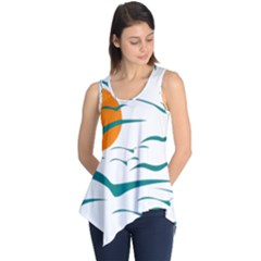 Sunset Glow Sun Birds Flying Sleeveless Tunic