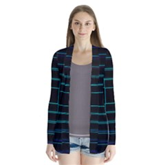 Texture Lines Background Drape Collar Cardigan