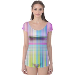 Texture Abstract Squqre Chevron Boyleg Leotard