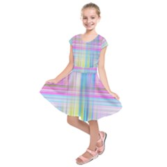 Texture Abstract Squqre Chevron Kids  Short Sleeve Dress