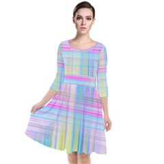 Texture Abstract Squqre Chevron Quarter Sleeve Waist Band Dress