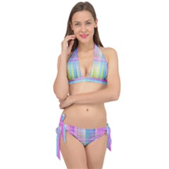Texture Abstract Squqre Chevron Tie It Up Bikini Set