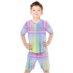 Texture Abstract Squqre Chevron Kids  Tee And Shorts Set by HermanTelo