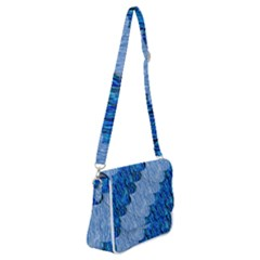 Texture Surface Blue Shapes Shoulder Bag With Back Zipper by HermanTelo