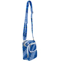 Texture Surface Blue Shapes Shoulder Strap Belt Bag by HermanTelo