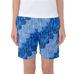 Texture Surface Blue Shapes Women s Basketball Shorts