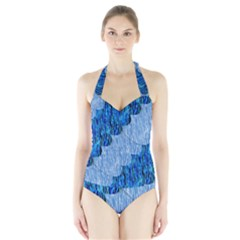Texture Surface Blue Shapes Halter Swimsuit by HermanTelo