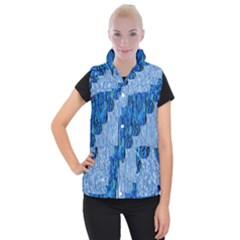 Texture Surface Blue Shapes Women s Button Up Vest by HermanTelo