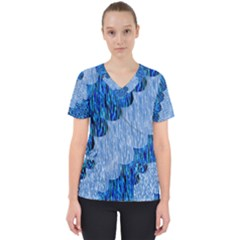 Texture Surface Blue Shapes Women s V Neck Scrub Top
