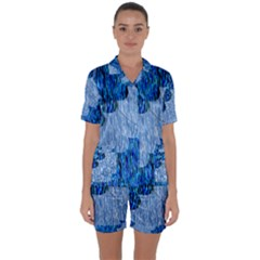 Texture Surface Blue Shapes Satin Short Sleeve Pyjamas Set