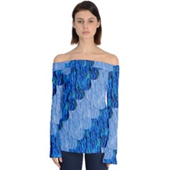 Texture Surface Blue Shapes Off Shoulder Long Sleeve Top by HermanTelo