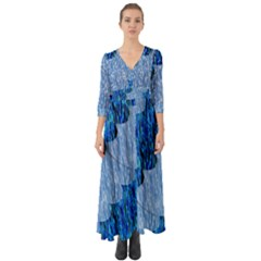 Texture Surface Blue Shapes Button Up Boho Maxi Dress by HermanTelo