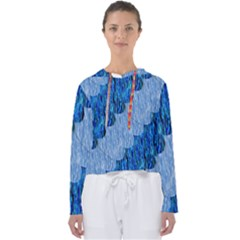 Texture Surface Blue Shapes Women s Slouchy Sweat