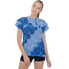 Texture Surface Blue Shapes Ruffle Collar Chiffon Blouse by HermanTelo