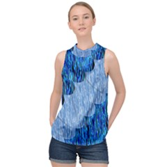 Texture Surface Blue Shapes High Neck Satin Top by HermanTelo