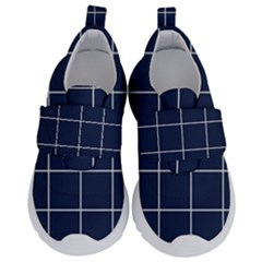 Simple Navy Plaid Kids  Velcro No Lace Shoes by goljakoff