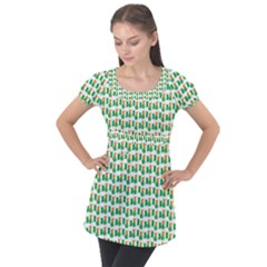 St-patricks Day Background Ireland Puff Sleeve Tunic Top