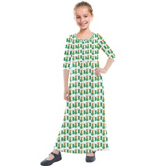St Patricks Day Background Ireland Kids  Quarter Sleeve Maxi Dress