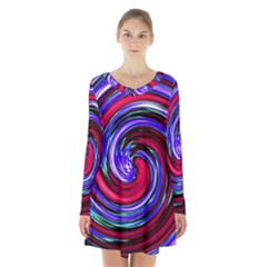 Swirl Vortex Motion Long Sleeve Velvet V-neck Dress