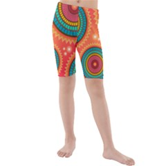 Texture Mosaic Pink Kids  Mid Length Swim Shorts