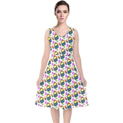 Sweet Dessert Food Cake Pattern V Neck Midi Sleeveless Dress