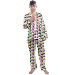 Sweet Dessert Food Cake Pattern Men s Satin Pajamas Long Pants Set by HermanTelo
