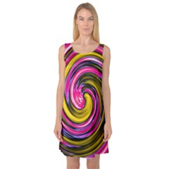 Swirl Vortex Motion Pink Yellow Sleeveless Satin Nightdress by HermanTelo