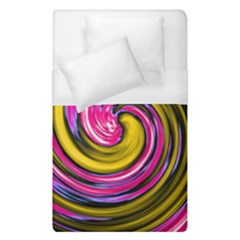 Swirl Vortex Motion Pink Yellow Duvet Cover (single Size) by HermanTelo