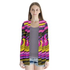 Swirl Vortex Motion Pink Yellow Drape Collar Cardigan