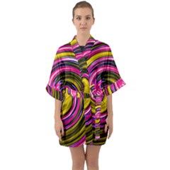 Swirl Vortex Motion Pink Yellow Quarter Sleeve Kimono Robe