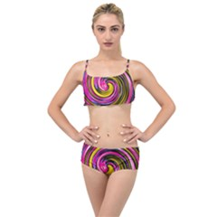 Swirl Vortex Motion Pink Yellow Layered Top Bikini Set