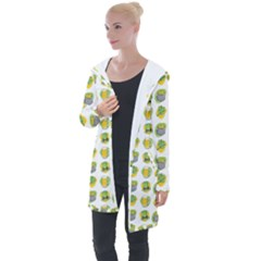 St Patricks Day Background Symbols Longline Hooded Cardigan by HermanTelo