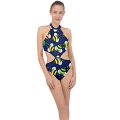 Textured Bee Halter Side Cut Swimsuit