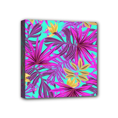 Tropical Greens Pink Leaves Mini Canvas 4  X 4  (stretched) by HermanTelo