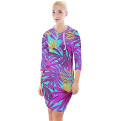 Tropical Greens Pink Leaves Quarter Sleeve Hood Bodycon Dress by HermanTelo