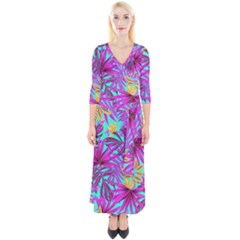Tropical Greens Pink Leaves Quarter Sleeve Wrap Maxi Dress by HermanTelo