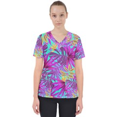 Tropical Greens Pink Leaves Women s V Neck Scrub Top