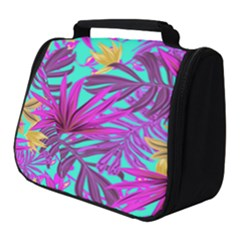 Tropical Greens Pink Leaves Full Print Travel Pouch (small) by HermanTelo