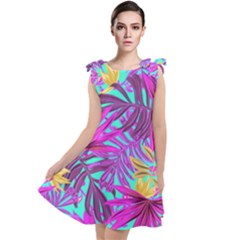 Tropical Greens Pink Leaves Tie Up Tunic Dress