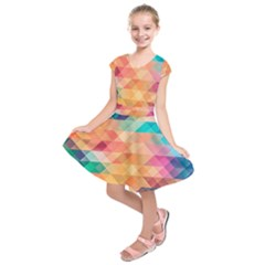 Texture Triangle Kids  Short Sleeve Dress