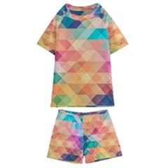 Texture Triangle Kids  Swim Tee And Shorts Set