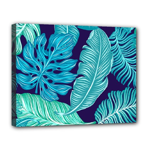 Tropical Greens Leaves Banana Canvas 14  X 11  (stretched)