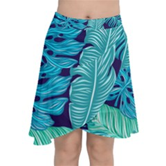 Tropical Greens Leaves Banana Chiffon Wrap Front Skirt by HermanTelo